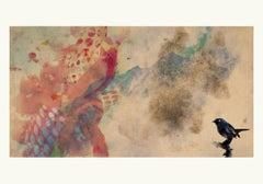 Birds 4 -Contemporary , Abstract, Gestual, Street art, Pop, Modern, Geometric