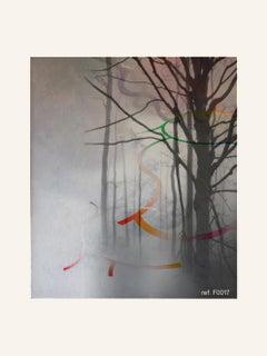 Grey Forest - Contemporary, Abstract, Modern, Pop art, Surrealist, Landscape