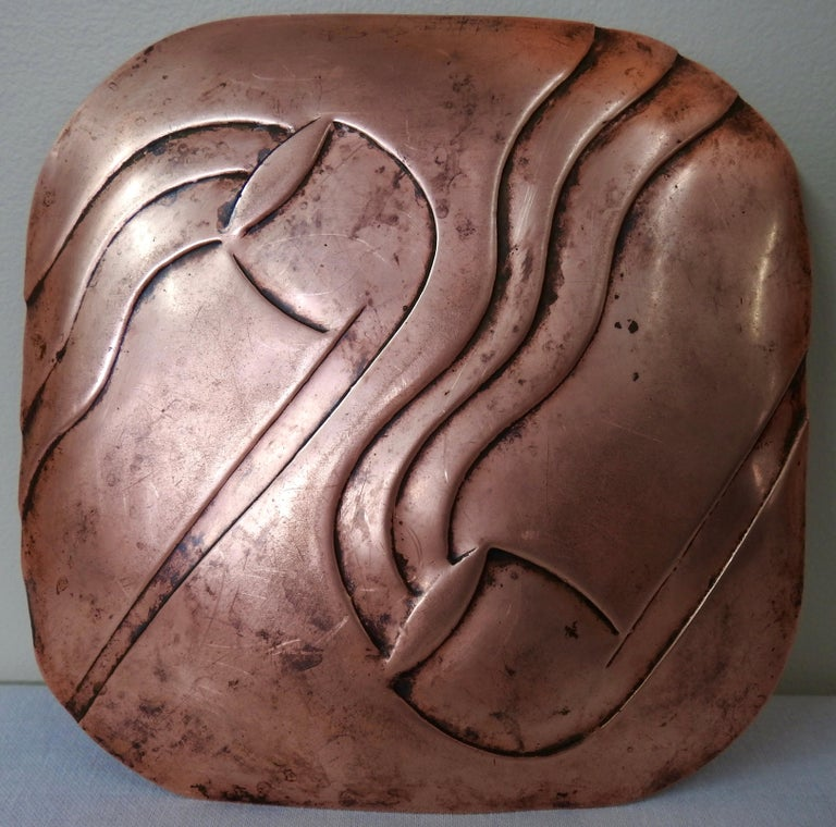 Francisco Rebajes Copper Pipe Plate, Signed, Midcentury For Sale 3