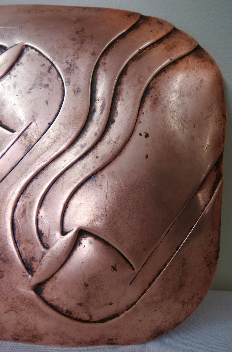 Francisco Rebajes Copper Pipe Plate, Signed, Midcentury For Sale 4