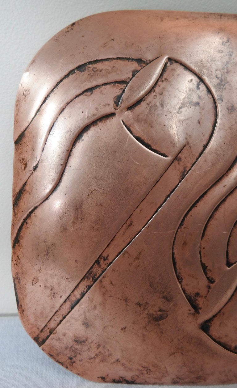 Francisco Rebajes Copper Pipe Plate, Signed, Midcentury For Sale 5