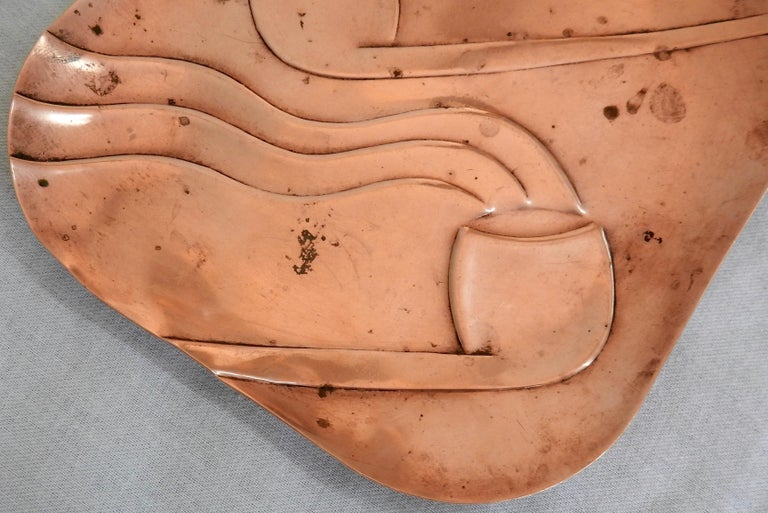 Mexican Francisco Rebajes Copper Pipe Plate, Signed, Midcentury For Sale