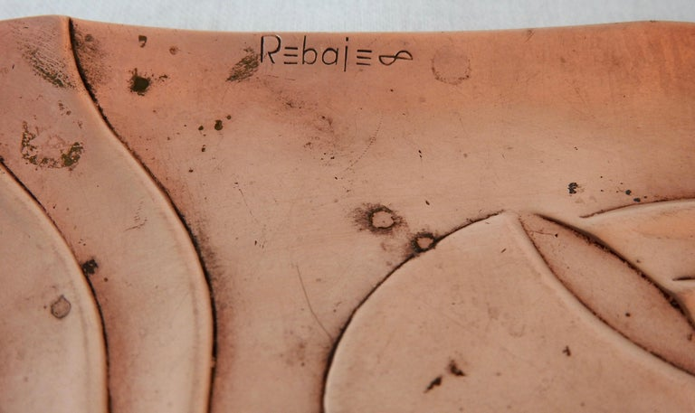 Francisco Rebajes Copper Pipe Plate, Signed, Midcentury For Sale 2