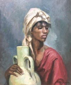 Woman with pitcher oil on board painting
