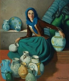 Beautiful Spanish Signed Oil - The Pot Seller. Portrait of a Lady, greens & teal