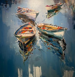 'All Tied Up' Colourful Contemporary painting of boats on water, blue, orange