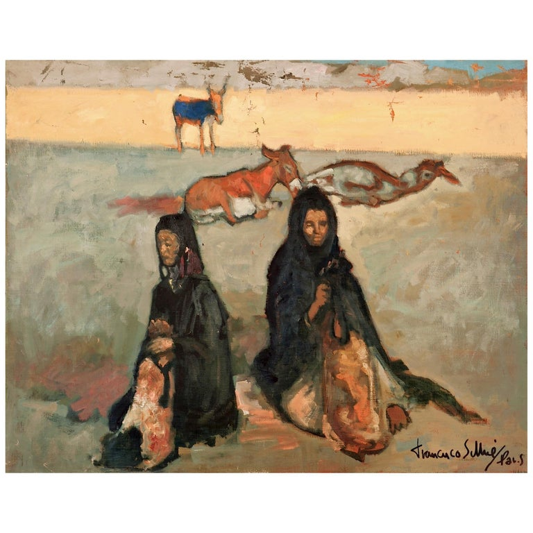 Francisco Sillué Painting of Gypsies For Sale