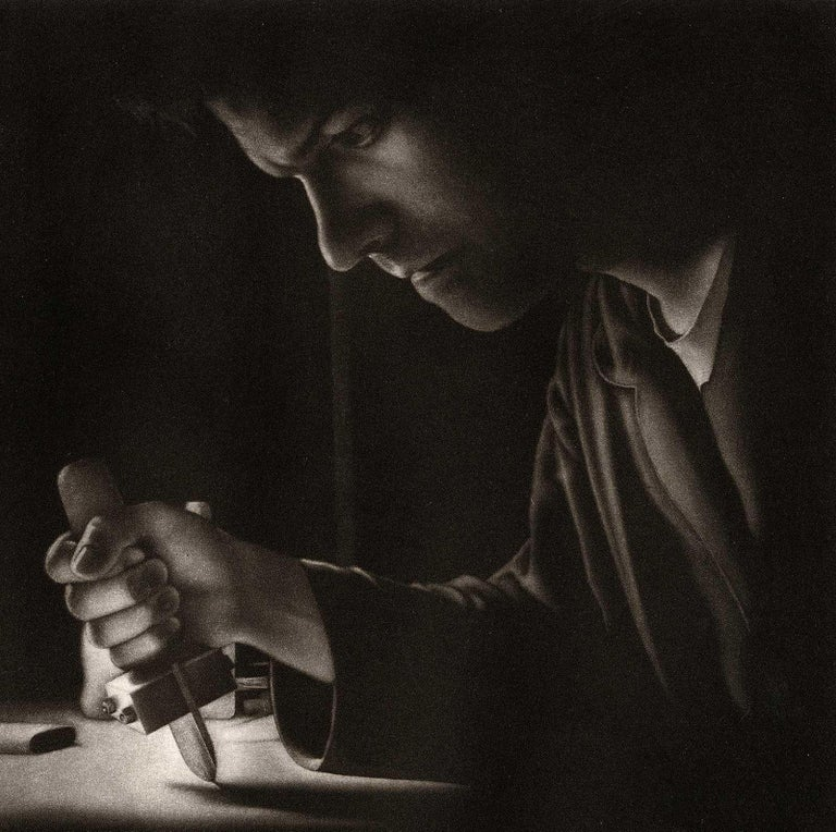 Settling II Homage to the Mezzotint (Self Portrait of Artist with his Tools) - Print by Francisco Souto