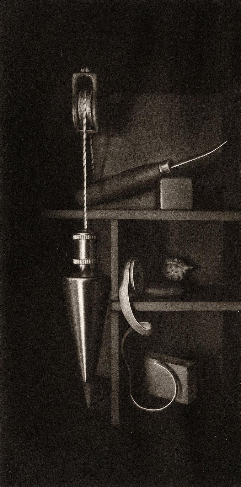 Settling II Homage to the Mezzotint (Self Portrait of Artist with his Tools) - American Modern Print by Francisco Souto