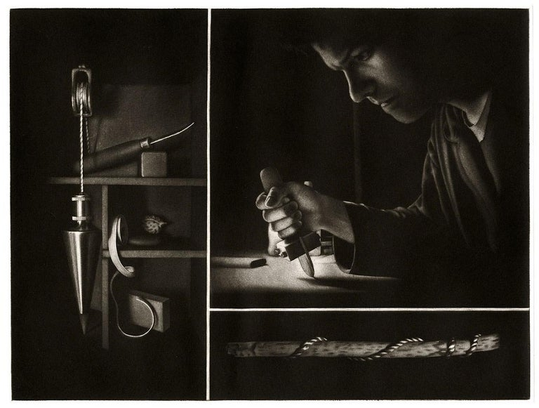Settling II Homage to the Mezzotint (Self Portrait of Artist with his Tools) For Sale 1
