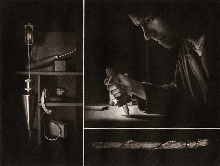 Francisco Souto Portrait Print - Settling II Homage to the Mezzotint (Self Portrait of Artist with his Tools)