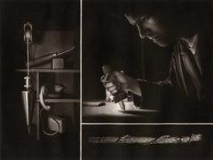 Settling II (Self Portrait of artist rocking a mezzotint plate)