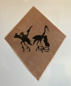Mexican Modernist Kite Painting, Stencil, Woodcut Print Hand Signed