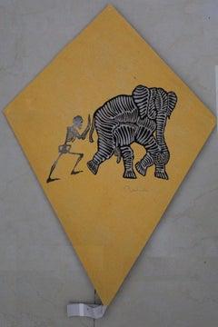 Papalote Amarillo con Elefante y Calavera