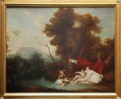 Leda and Swan - 18thC Old Master Continental School mythological oil painting