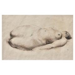 Francisco Zuñiga, Desnuda Signed Lower Right Conte Crayon on Paper