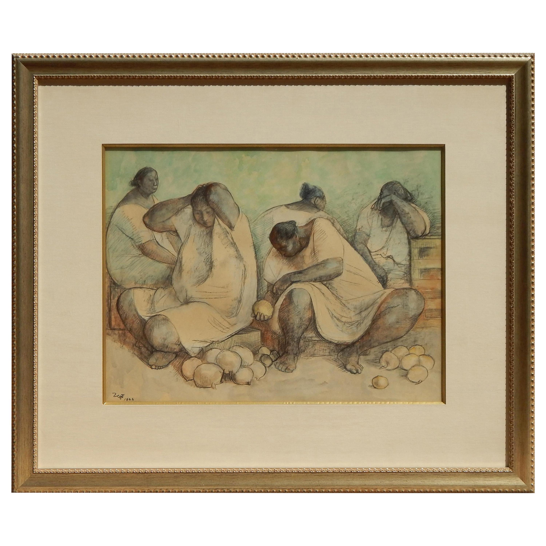 "Francisco Zuniga Mexican Artist Watercolor, 1966, ""The Fruit Vendors"""