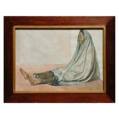 "Francisco Zuniga Mexican Modernist Watercolor, 1984, ""Mujer Sentada con Rebozo"""
