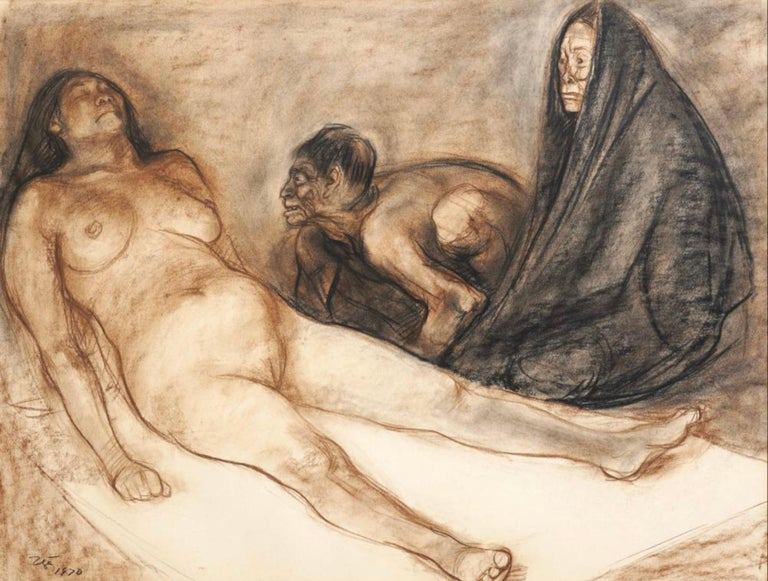 Francisco Zuniga, Mexican (1912-1998). 'Brujeria', sepia and black charcoal on paper. I spoke with Ariel Zuniga and he was very impressed by this painting saying three or more figures is rare. The scene is of a mother and sick daughter with a witch