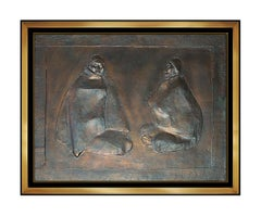 Francisco Zuniga Original Copper Wall Relief Sculpture Dos Mujeres Signed Bronze