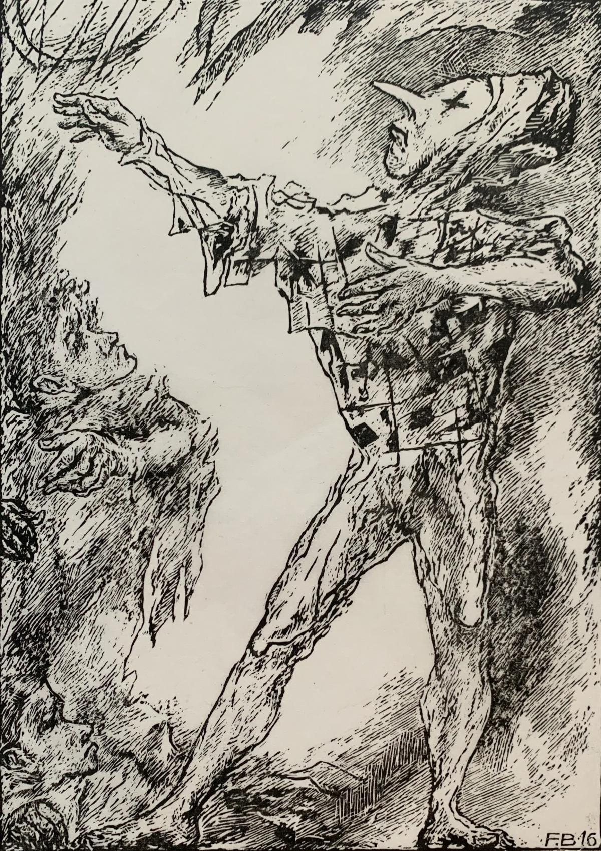 A clown - Black and white linocut, Figurative, Vertical