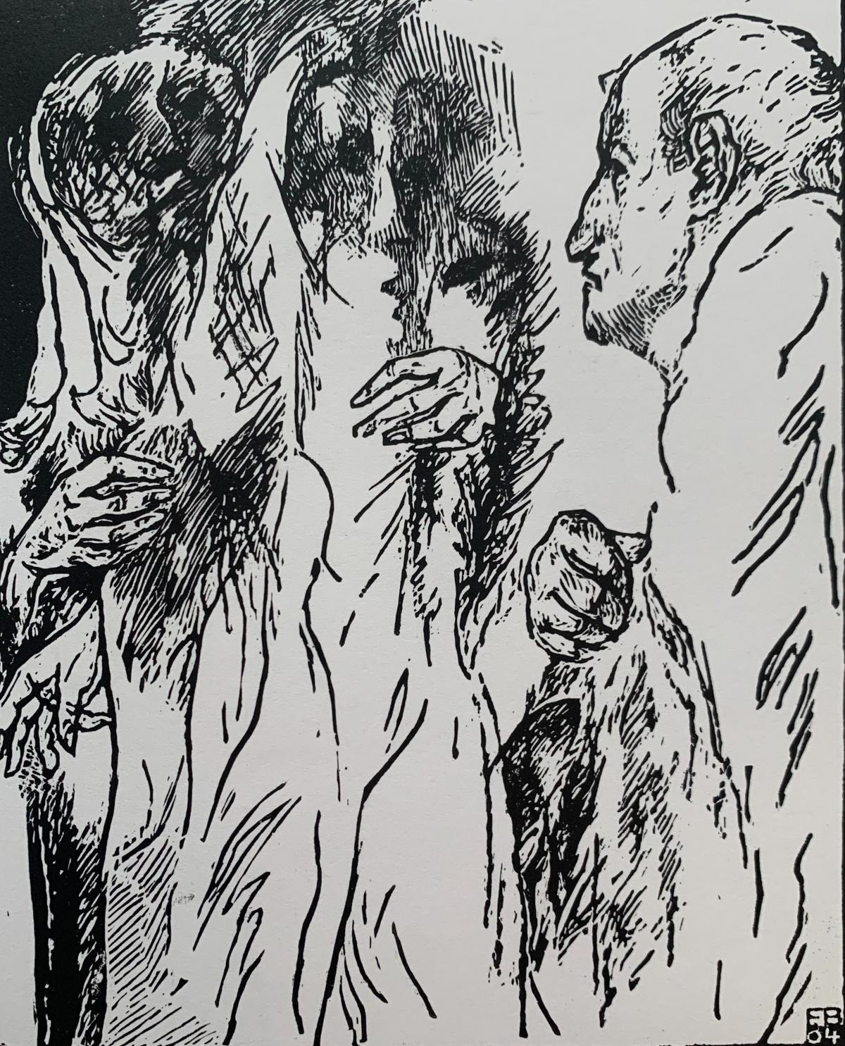 A conversation - Black and white linocut, Figurative
