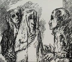 A conversation - Black and white linocut, Figurative, Horizontal