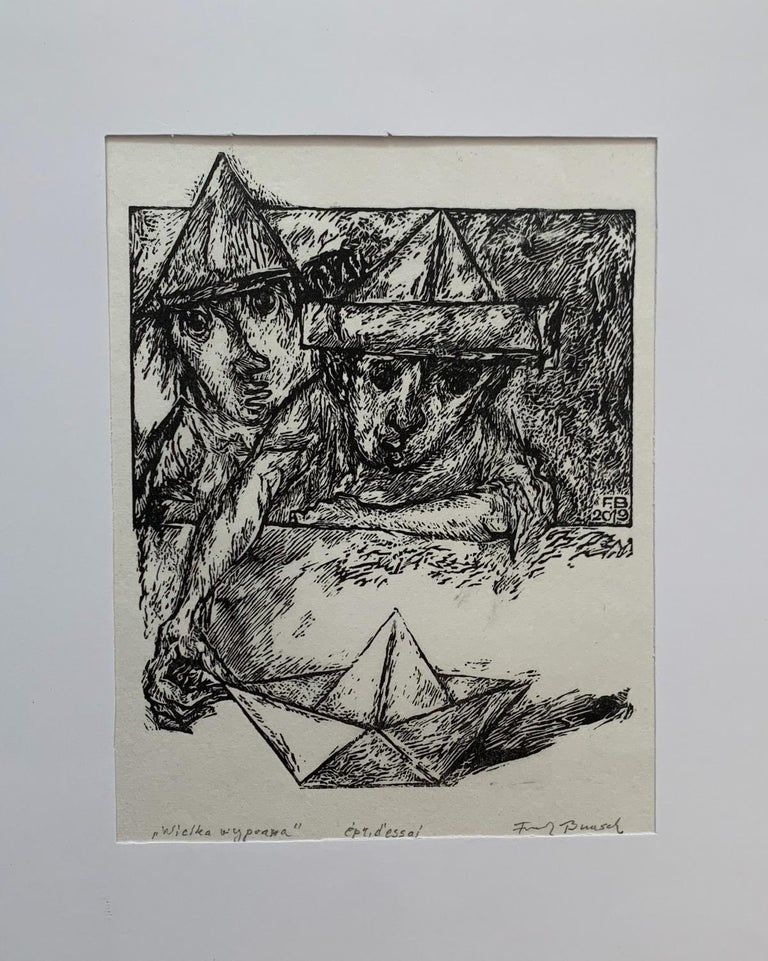 A Great Journey - Black and white linocut, Figurative, Vertical - Print by Franciszek Bunsch