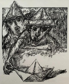 A Great Journey - Black and white linocut, Figurative, Vertical