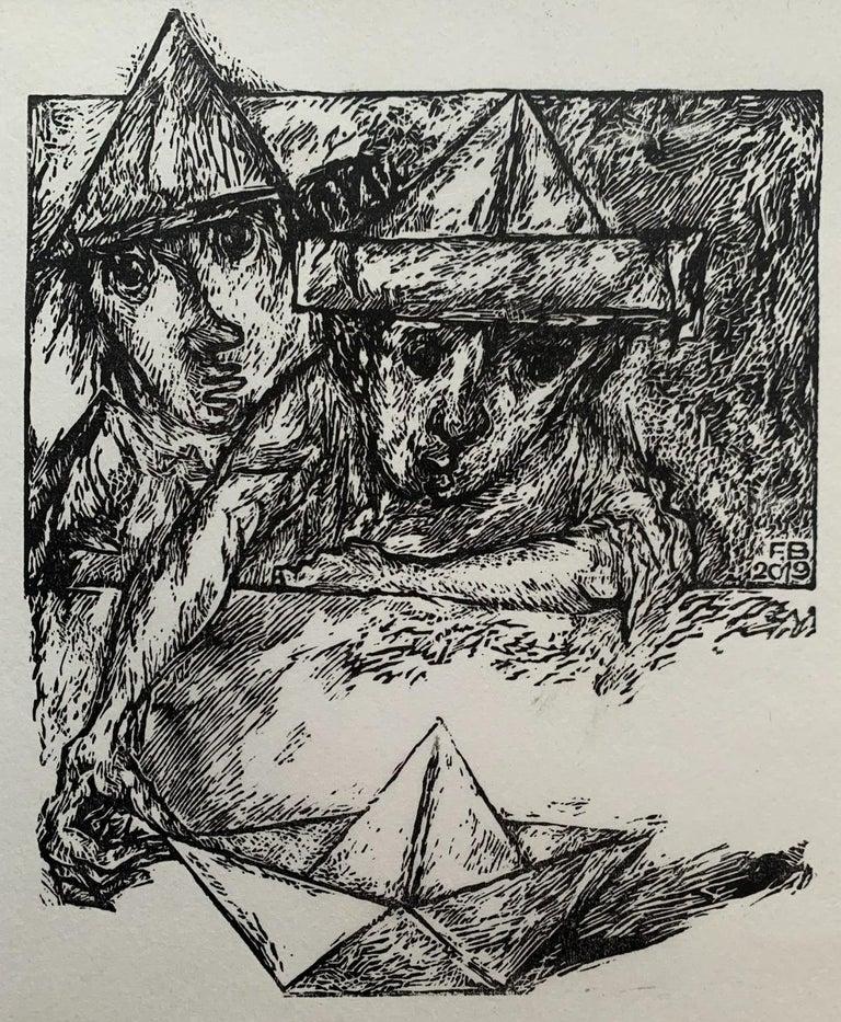 Franciszek Bunsch Figurative Print - A Great Journey - Black and white linocut, Figurative, Vertical