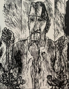 Seller of roosters - Black and white linocut, Figurative, Vertical