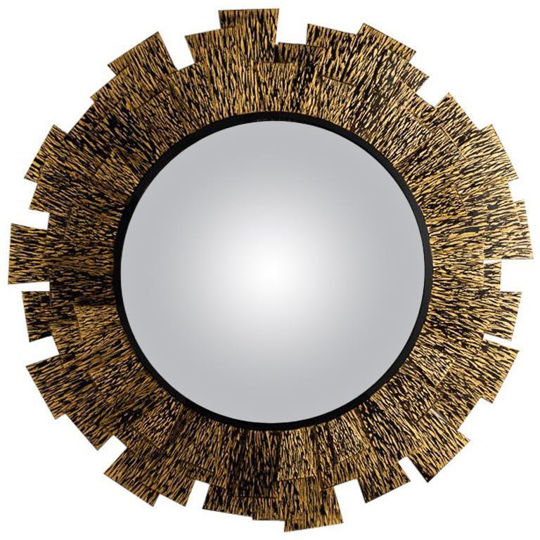 "Franck Chartrain ""Flamme,"" Bronze Wall Mirror, France, 2014"