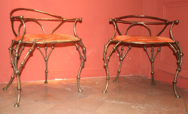 French Franck Evennou 2009, Pair of Bronze Armchairs