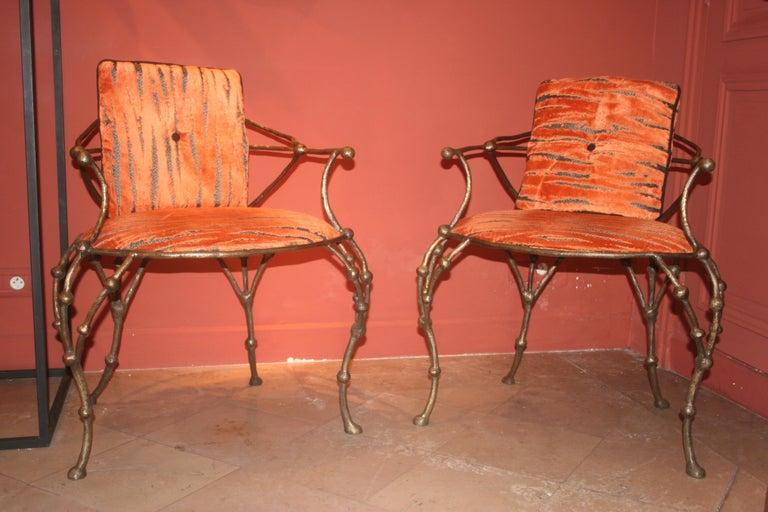 Upholstery Franck Evennou 2009, Pair of Bronze Armchairs