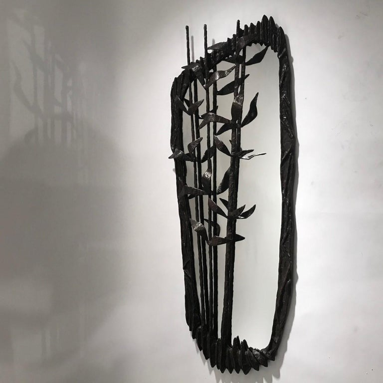 Franck Evennou 2019, Large Wall Bronze Sculpture and Mirror For Sale 1