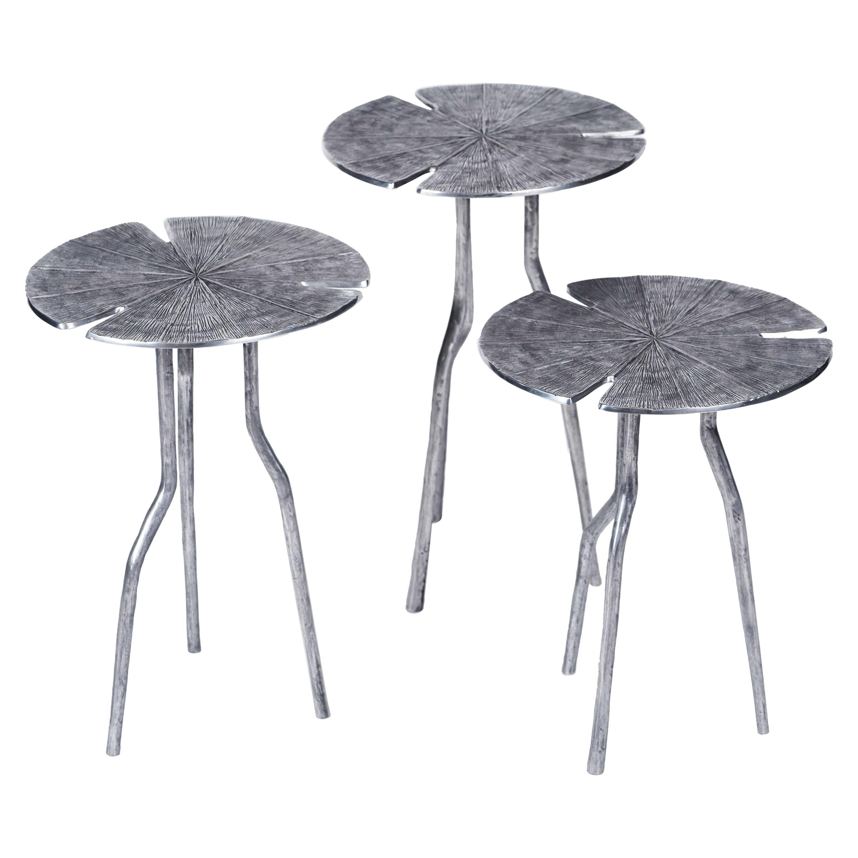 Franck Evennou, Lotus, Set of Three Nesting Tables, Aluminum, France, 2015