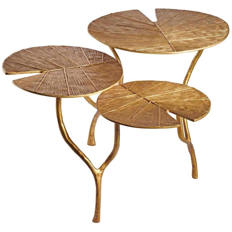 "Franck Evennou, ""Lotus"" Three Leaves Coffee Table Limited Edition"