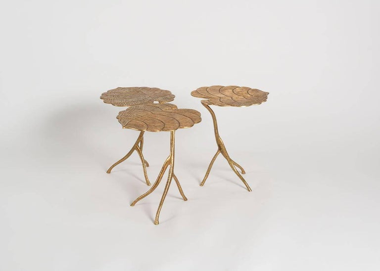 Franck Evennou's remarkable Taro nesting tables mimic the Asian root's broad leaves and stem, and his choice of material, and the evidence of his masterful hand, serve to contrast, as well as to amplify, the tables' beautifully natural and