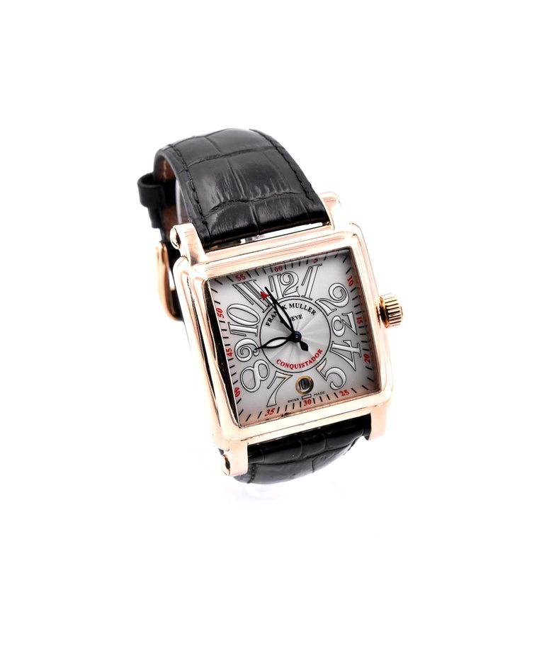 Movement: Automatic Function: hours, minutes Case: 18 Karat Rose Gold Band: black leather strap with 18K rose gold Franck Muller buckle  Dial: silver guilloche Arabic numeral dial Serial #: No XXX Reference #: 1000 SC   Comes with Box and