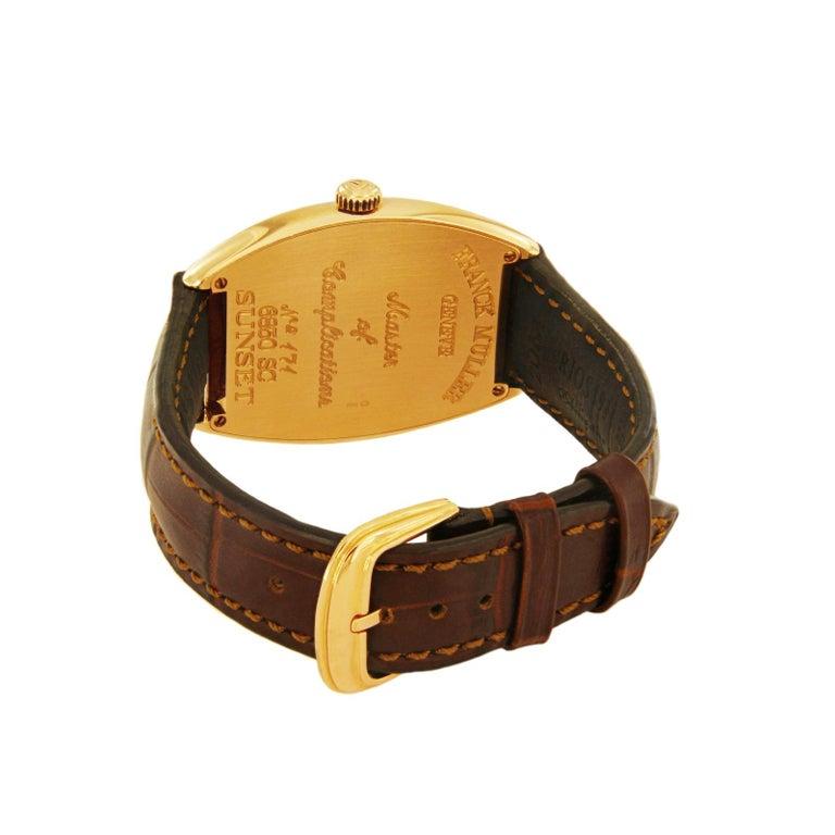 Women's or Men's Franck Muller 18 Karat Rose Gold Curvex Sunset Watch 6850 SC For Sale