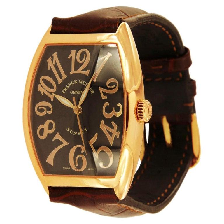 Franck Muller 18 Karat Rose Gold Curvex Sunset Watch 6850 SC For Sale