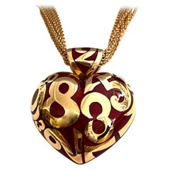 Franck Muller, 18 Karat Rose Gold Pendant with Chain, Red Enamel