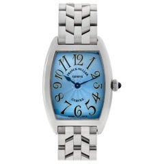 Franck Muller Curvex 1752 QZ, Blue Dial, Certified and Warranty