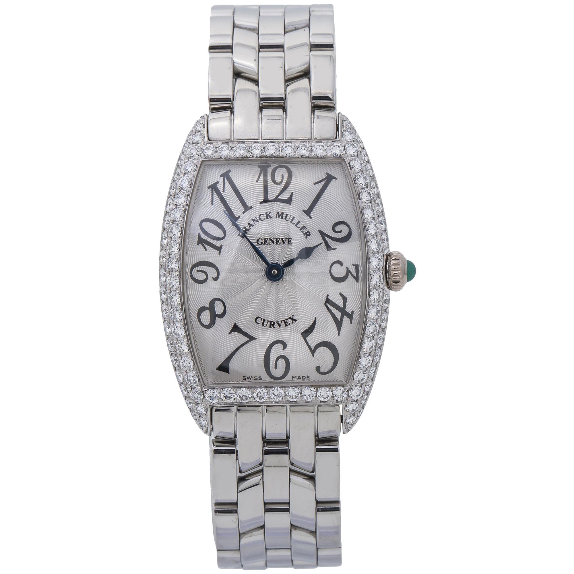 Franck Muller Curvex 1752QZD Factory Diamond Silver Dial Ladies Watch