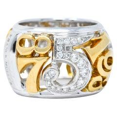 Franck Muller Diamond 18 Karat Two-Tone Gold Crazy Hours Band Ring