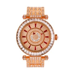 Franck Muller Double Mystery Watch, 18 Karat Gold, Ruby and Diamond Bracelet
