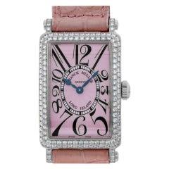 Franck Muller Long Island 902 QZ D 18k White Gold Pink Dial Quartz Watch