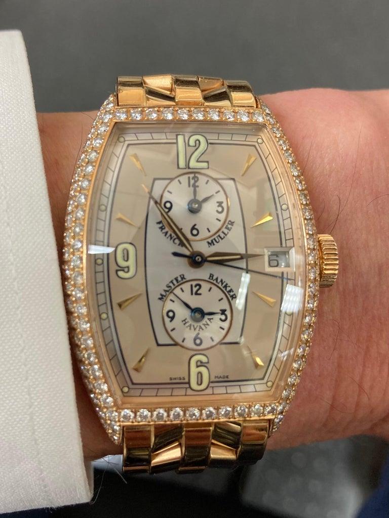 Art Deco Franck Muller Master Banker Diamond Rose Gold Watch Small Wrist Size For Sale