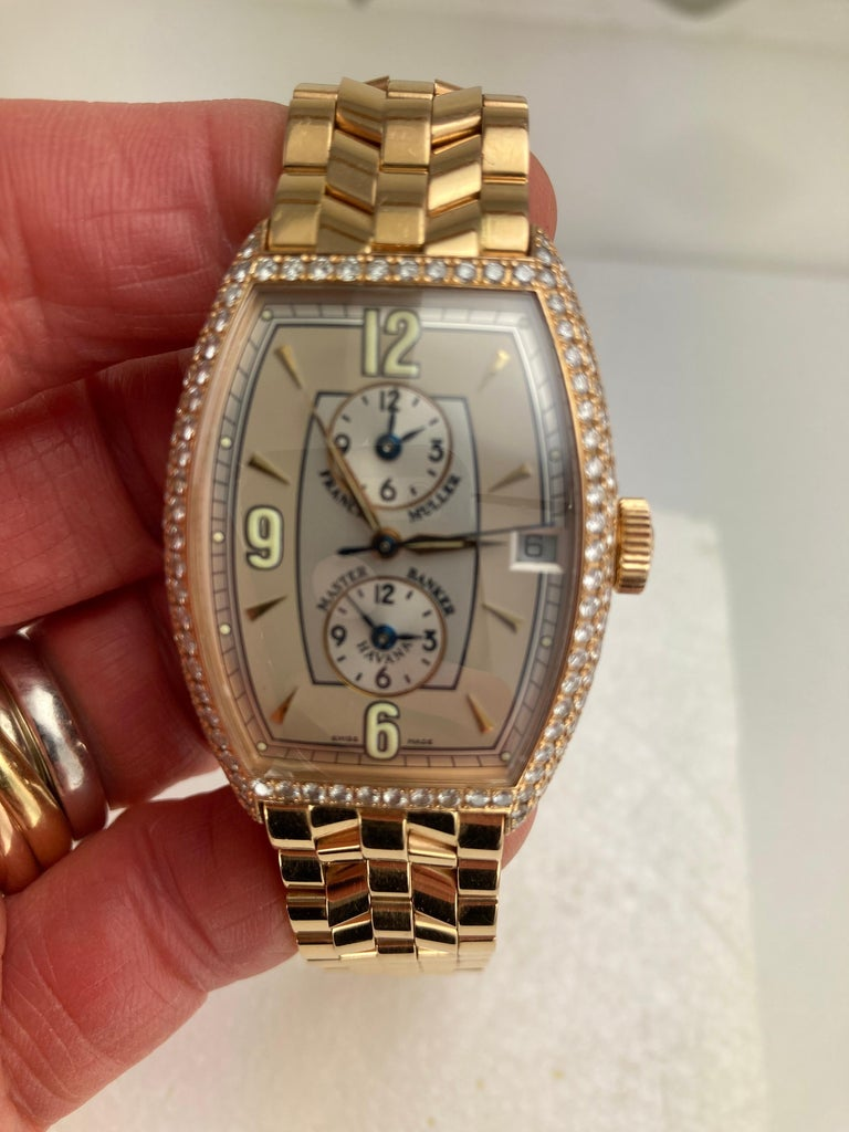 Round Cut Franck Muller Master Banker Diamond Rose Gold Watch Small Wrist Size For Sale