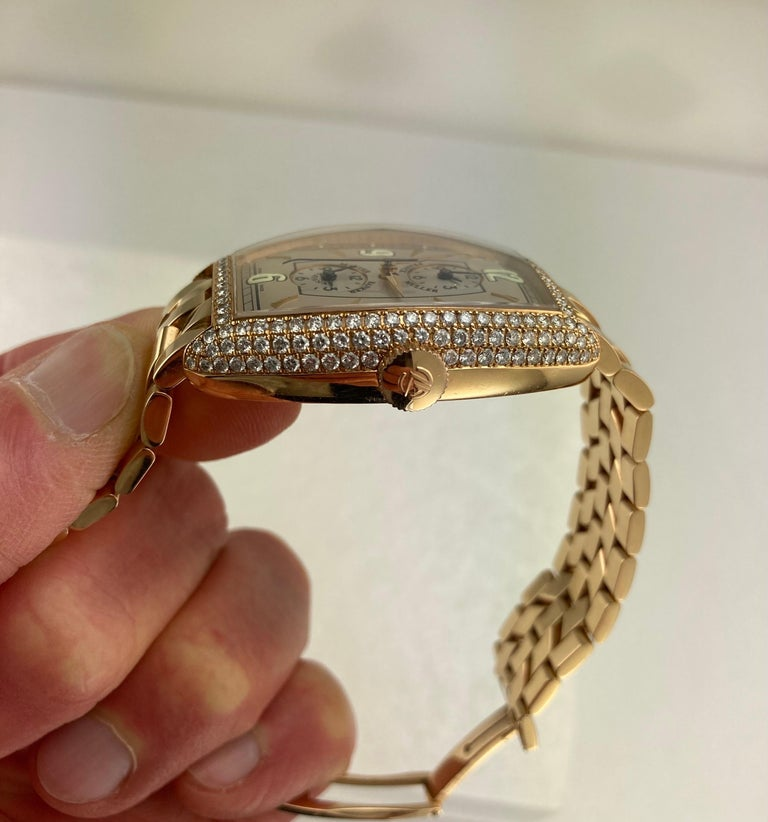 Franck Muller Master Banker Diamond Rose Gold Watch Small Wrist Size In Good Condition For Sale In Los Angeles, CA